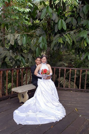 Stock Photo: 1848-259328 Malaysian bride and groom, Sarawak, Borneo, Malaysia, Southeast Asia