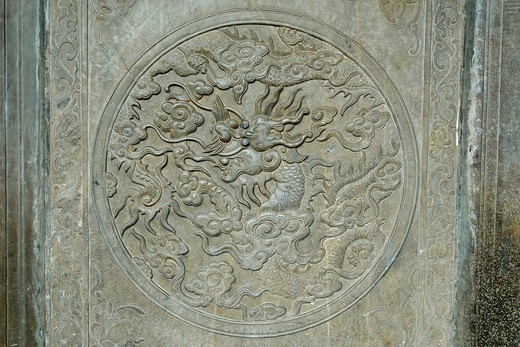 Stone carving of a Chinese dragon in a temple, Hoi An, UNESCO World Heritage Site, Vietnam, Asia : Stock Photo