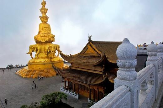 Stock Photo: 1848-25957 Statue of Samantabhadra, Mount Emei near Chengdu, China, Asia