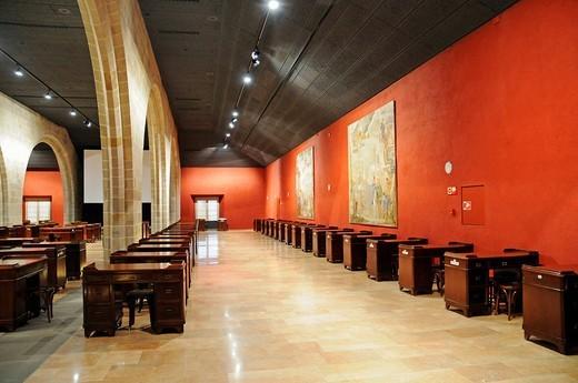 Bureaus, parlour, hall, Palacio de la Llotja de Mar, former stock exchange, Barcelona, Catalonia, Spain, Europe : Stock Photo