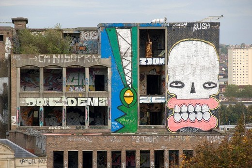 Large graffitit on an old, abandoned building, writing, crocodile, face, Bristol, England, Great Britain, Europe : Stock Photo