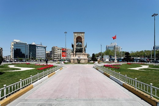 Independence monument by Pietro Canonica, Taksim Square, Beyoglu, Istanbul, Turkey : Stock Photo