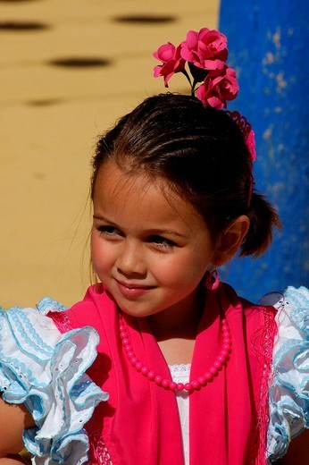 Portrait of a girl in Traje de Gitana , Feria de Abril , Sevilla , Andalusia , Europe : Stock Photo