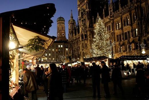 Christmas Market at the Marienplatz in Munich, Bavaria, Germany : Stock Photo