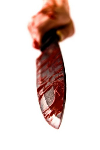Bloody knife : Stock Photo