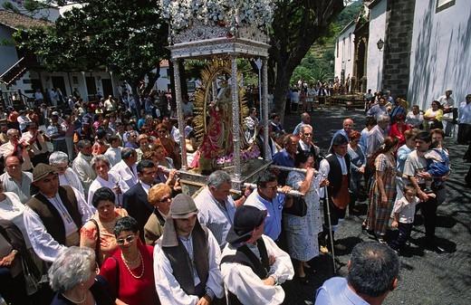 Fiesta de Nuestra Senora de Las Nieves, procession of the virgin of the snow, La Palma, Canary Islands, Spain : Stock Photo