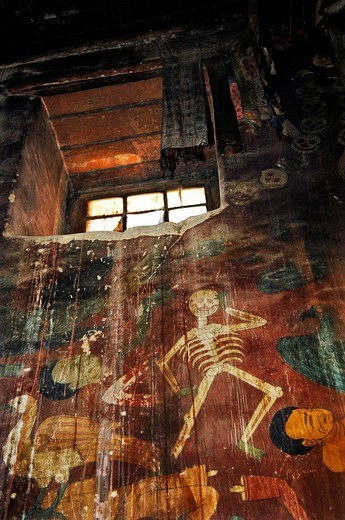 Window, murals, Palcho Monastery or Pelkor Chode Monastery or Shekar Gyantse, Gyantse, Tibet : Stock Photo