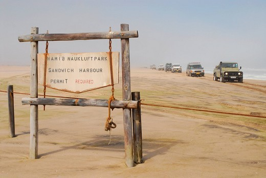 Sign at the entrance to the Diamond Area, Walfish Bay, Namibia : Stock Photo