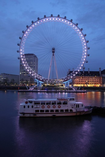 Stock Photo: 1848-261233 London Eye, ferris wheel on the banks of the Thames River, London, England, Great Britain, Europe