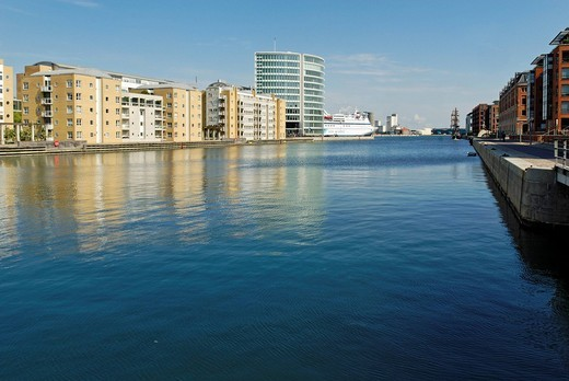 Modern residential and office buildings at the docks of Vestbassin of Sondrefrihavn, Copenhagen, Denmark, Europe : Stock Photo