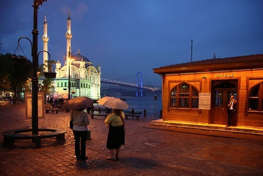 Stock Photo: 1848-261400 Illuminated Mecidiye Mosque at the bank of the Bosphorus, Ortakoey pier, Istanbul, Turkey