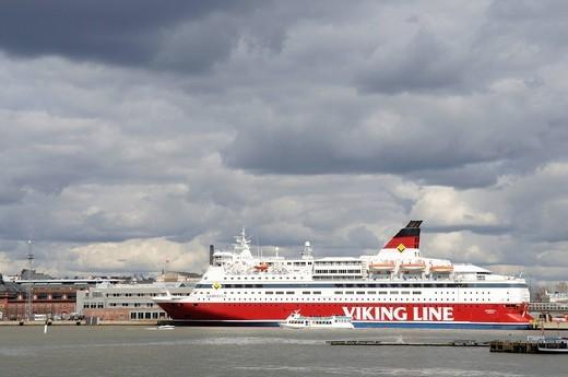 Ferry_boat of the Viking Line docked in Helsinki port, Helsinki, Finland, Europe : Stock Photo