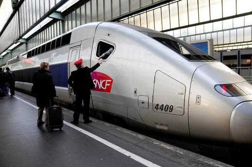 TGV train, Stuttgart _ Paris Line, at Stuttgart Central Station, Baden_Wuerttemberg, Germany, Europe : Stock Photo