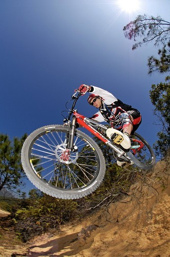 Mountain biker on Hong Kong Island, Hong Kong, China, Asia : Stock Photo