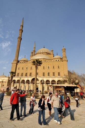 Western tourists in front of Mosque of Muhammad Ali Pasha, Alabaster Mosque, situated in Citadel of Cairo, Egypt, North Africa : Stock Photo