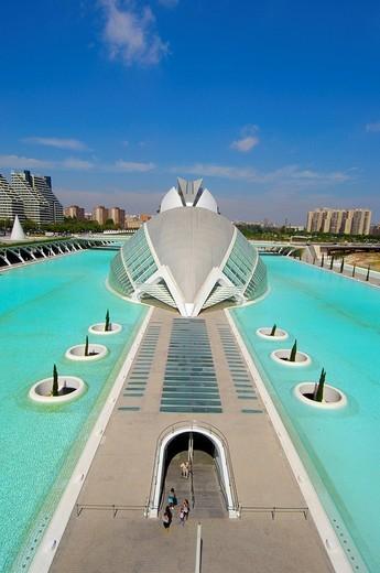 L´Hemisferic, by S. Calatrava, City of Arts and Sciences, Comunidad Valenciana, Valencia, Spain, Europe : Stock Photo