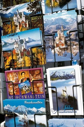 Postcards, Castle Neuschwanstein, King Ludwig Tour, Hohenschwangau, Allgaeu, Bavaria, Germany : Stock Photo