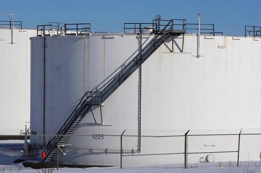 Oil storage container near Edmonton, Alberta, Canada : Stock Photo