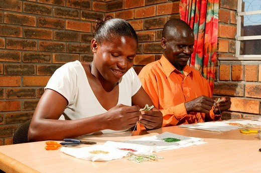 Bead embroiderers producing Christmas decorations, Cape Town, South Africa : Stock Photo