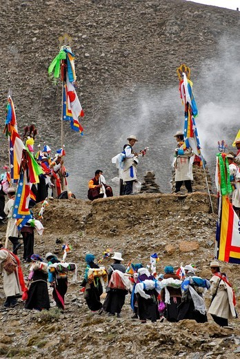 Religious festivity near Lhasa, Tibet, Asia : Stock Photo