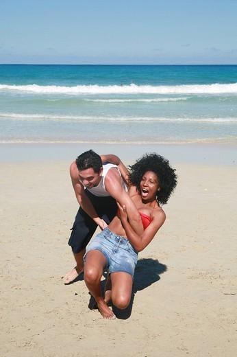 Cubans enjoying their leisure time on the Playas del Este Beach, Havanna Province, Cuba, Latin America : Stock Photo
