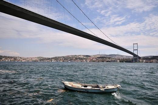 Stock Photo: 1848-263247 Atatuerk Koepruesue Bridge spanning the Bosporus Strait, Istanbul, Turkey