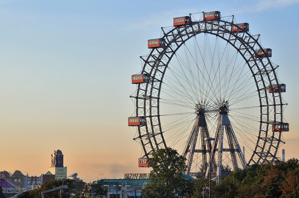 Vienna giant wheel, Riesenrad, in Prater public park, Vienna, Austria, Europe : Stock Photo