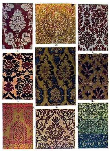 Stock Photo: 1848-263683 Historic illustration, Italian ornaments, velvet_ and silk patterns