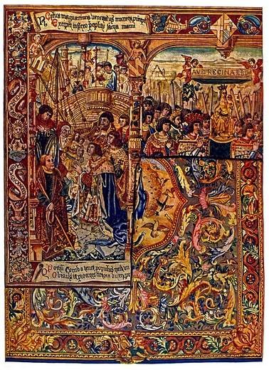 Historic illustration, Flemish ornaments, wall carpets : Stock Photo