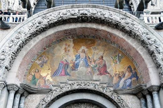 Stock Photo: 1848-263812 St Mark´s Basilica, detail, mosaik, Venice, Venetia, Italy, Europe