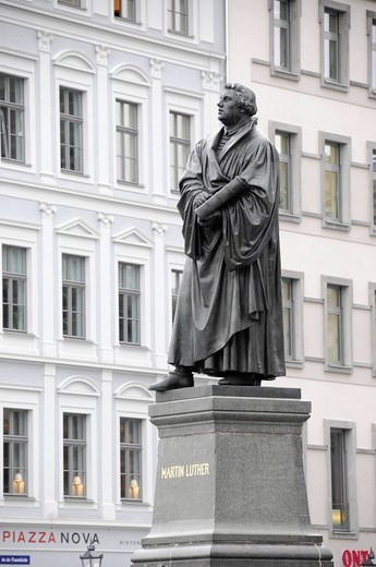 Martin Luther monument on Neumarkt square, Dresden, Saxony, Germany, Europe : Stock Photo