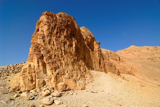 Stock Photo: 1848-26386 Rocks in the Valley of the Kings near Deir el Bahri, Luxor, Egypt, North Africa