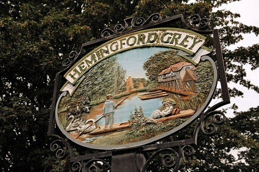 Decorative sign of Hemingford Gray, High Street, Cambridgeshire, England, United Kingdom, Europe : Stock Photo