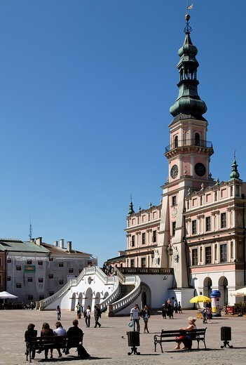 Rynek, historic city square of Zamosz, Unesco World Heritage Site, Poland : Stock Photo