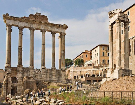 Temple of Saturn left and three columns of Temple of Vespasian and Titus, Forum Romanum, Rome, Italy, Europe : Stock Photo