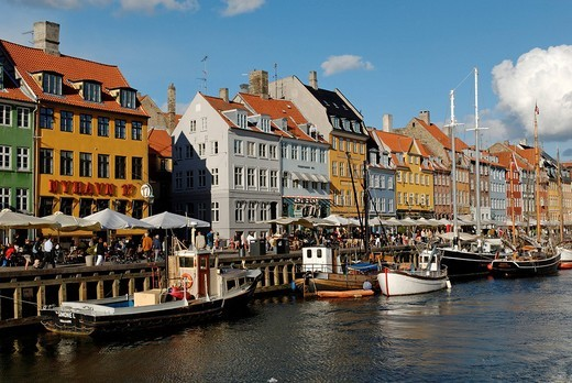 Historic boats in Nyhavn, New Harbour, Copenhagen, Denmark, Scandinavia, Europe : Stock Photo