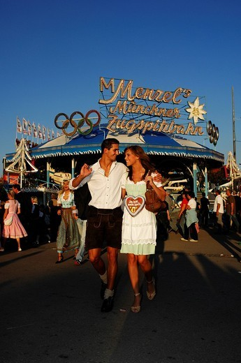 Oktoberfest, Wies´n, couple enjoying the Beer Festival, Munich, Bavaria, Germany, Europe : Stock Photo