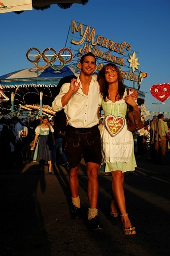 Oktoberfest, Wies´n, couple enjoying the Beer Festival, Munich, Bavaria, Germany, Europe : Stock Photo