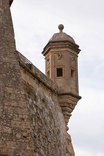 Hexagonal watch tower in Senglea at the Safe Haven Garden, Malta, Europe : Stock Photo