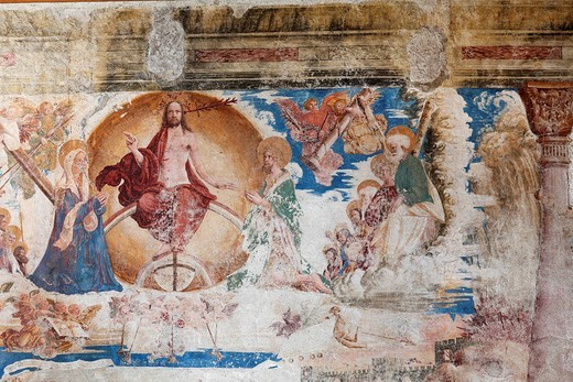 Fresco of the last judgement in the collegiate church, Stift Millstatt convent, Carinthia, Austria, Europe : Stock Photo