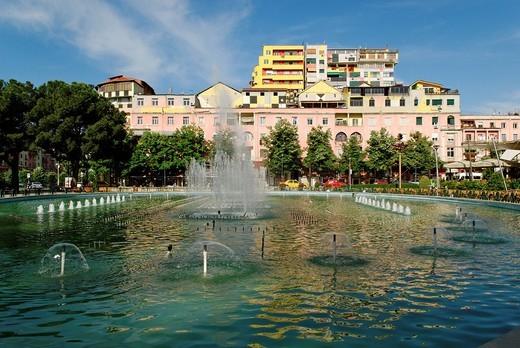 Stock Photo: 1848-26622 Park and fountain in Tirana, Albania, Europe