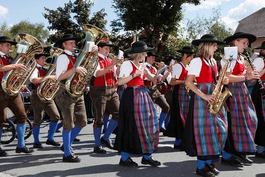 Folk music band at the Samson Parade, Mariapfarr, Lungau, Salzburg state, Salzburg, Austria, Europe : Stock Photo