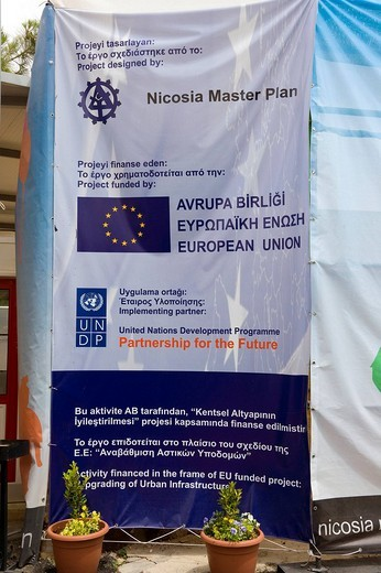 Banner in the Turkish sector of Nicosia, also known as Lefkosia, the capital of Cyprus, North Cyprus, Europe : Stock Photo