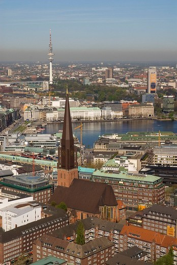 Stock Photo: 1848-266456 Arial view over the city center of Hamburg with lake Binnenalster, St. Jacobi church and television tower, Hamburg, Germany