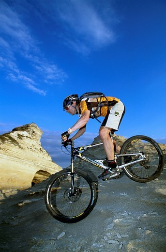 Stock Photo: 1848-26647 Mountainbiker, Santa Manza, Bonifacio, Corsica, France, Europe