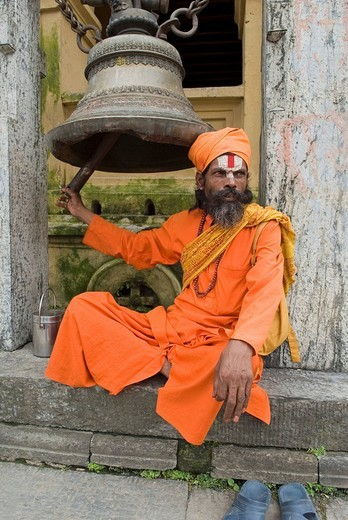 Stock Photo: 1848-266599 Sadhu, holy man, with Tika, Pashupatinath, Kathmandu, Nepal
