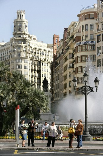ESP, Spain, Valencia : Plaza Ayuntamiento, Avenida Marques De Sotelo, central city hall square : Stock Photo