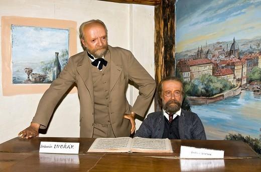 Antonin Dvorak and Bedrich Smetana as wax figures Wax museum of Prague Czechia : Stock Photo