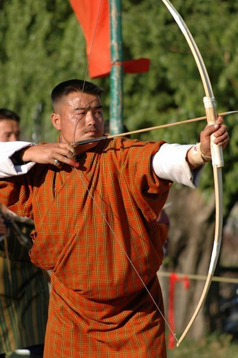 Bow shooter, Thimphu, Bhutan : Stock Photo