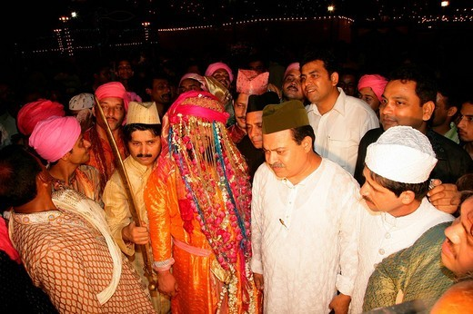 Stock Photo: 1848-267133 Sheik Medimir Naiz during his wedding held at a Sufi shrine in Bareilly, Uttar Pradesh, India, Asia